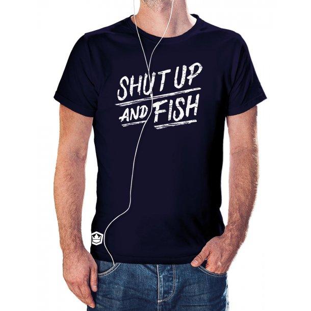 Capt Sig SHUT UP AND FISH t-shirt, marineblå