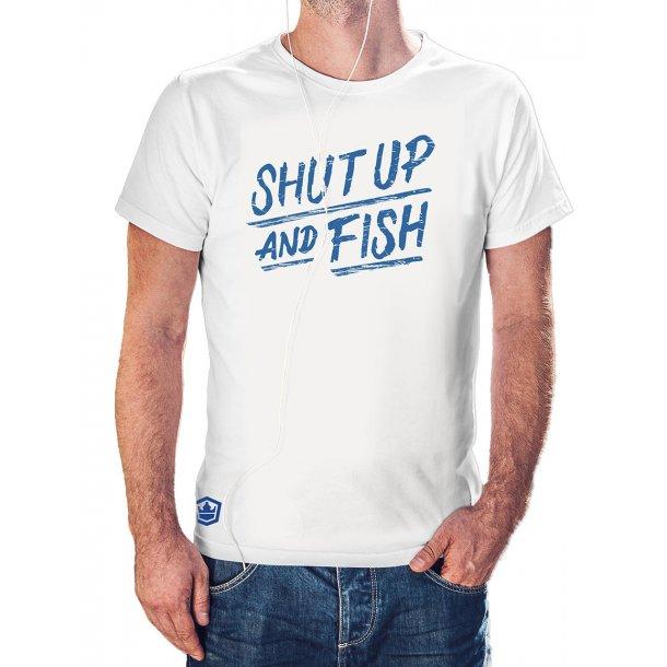 Capt Sig SHUT UP AND FISH t-shirt, hvit